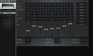 Click to display the Korg 707 Combination Editor