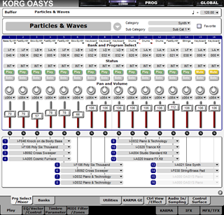 Click to display the Korg OASYS Combination Editor