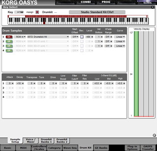 Click to display the Korg OASYS Drumkit Editor