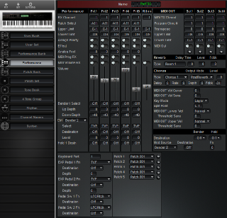 Click to display the Roland D-70 Performance Editor
