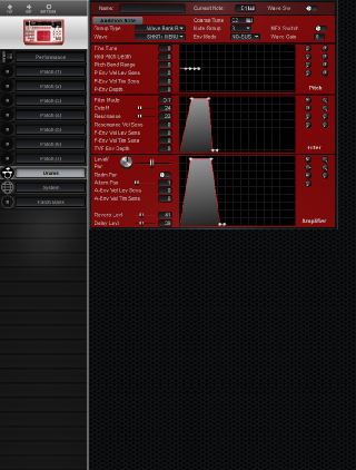 Click to display the Roland D2 Drums Editor