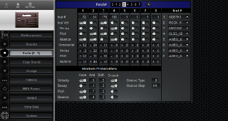 Click to display the Roland R-8 MkII Feels (0 - 7) Editor