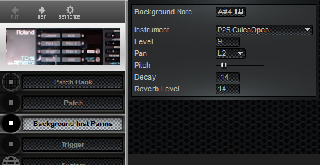 Click to display the Roland TD-5 Background Inst Parms Editor