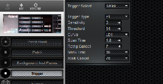 Click to display the Roland TD-5 Trigger Editor