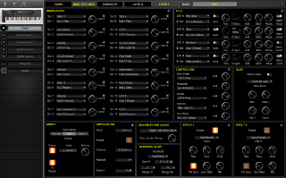 Click to display the Sequential Prophet XL Patch - MOD/LFO/MISC Editor
