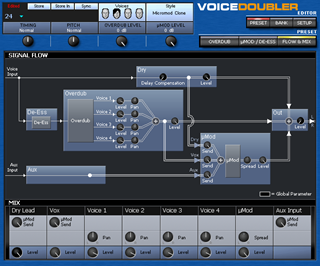 Click to display the TC-Helicon VoiceDoubler Preset - Flow + Mix Editor