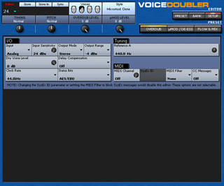 Click to display the TC-Helicon VoiceDoubler Setup Editor