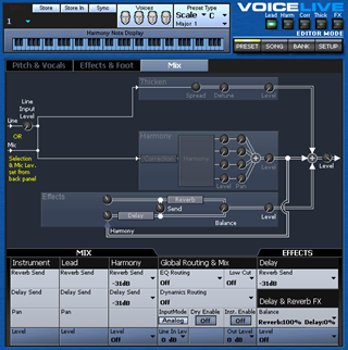 Click to display the TC-Helicon VoiceLive Preset - Mix Editor