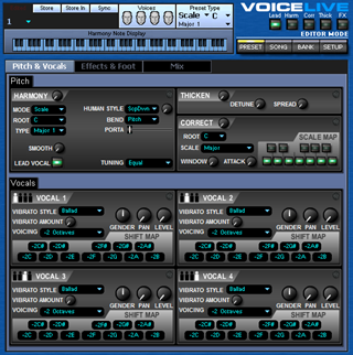 Click to display the TC-Helicon VoiceLive Preset - Pitch + Vocals Editor