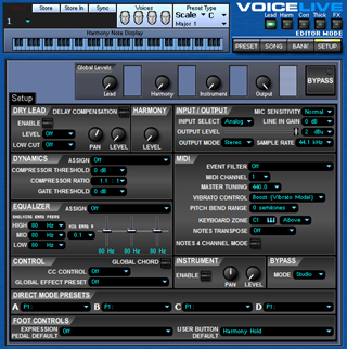 Click to display the TC-Helicon VoiceLive Setup Editor