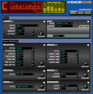 Click to display the TC-Helicon VoiceOne Preset Editor