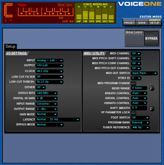 Click to display the TC-Helicon VoiceOne Setup Editor