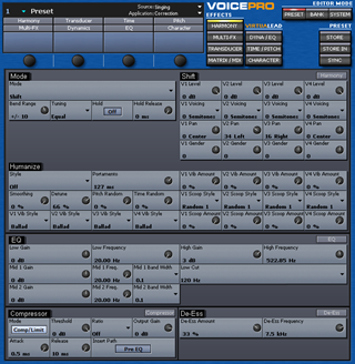 Click to display the TC-Helicon VoicePro Preset Editor