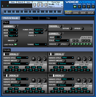 Click to display the TC-Helicon VoiceWorks Preset Editor