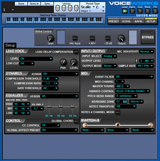 Click to display the TC-Helicon VoiceWorks Setup Editor