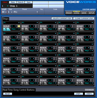 Click to display the TC-Helicon VoiceWorks Song Editor