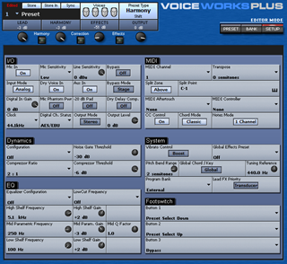 Click to display the TC-Helicon VoiceWorks Plus System Editor
