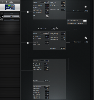 Click to display the Yamaha RM1x Effects Editor